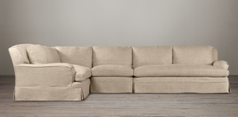 Charmant Belgian Classic Roll Arm Slipcovered Sectionals