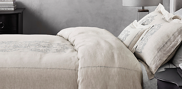 wentworth crest vintage-washed belgian linen bedding collection | rh
