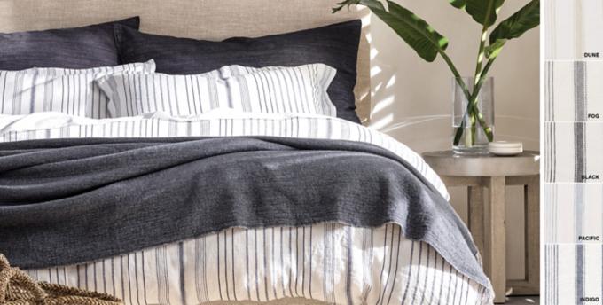 Italian Jacquard Stripe Linen Bedding Collection Free Shipping