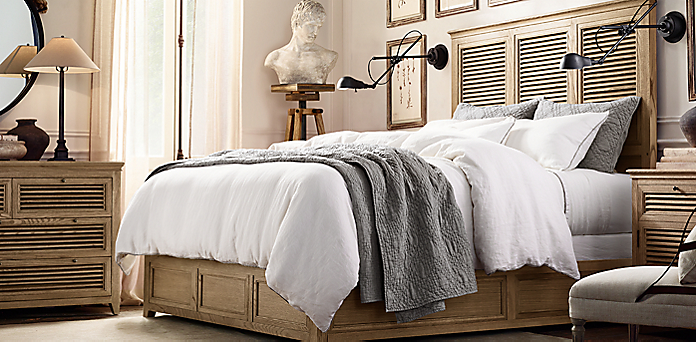 Bedroom Sets Restoration Hardware shutter collection - weathered oak drifted | rh