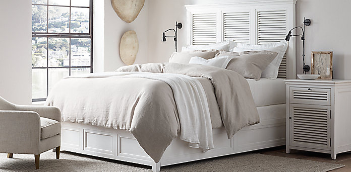 Bedroom Sets Restoration Hardware shutter collection - distressed white | rh