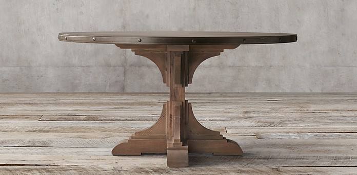 Th C Reclaimed Pine Zinc Trestle Collection RH - Restoration hardware zinc table