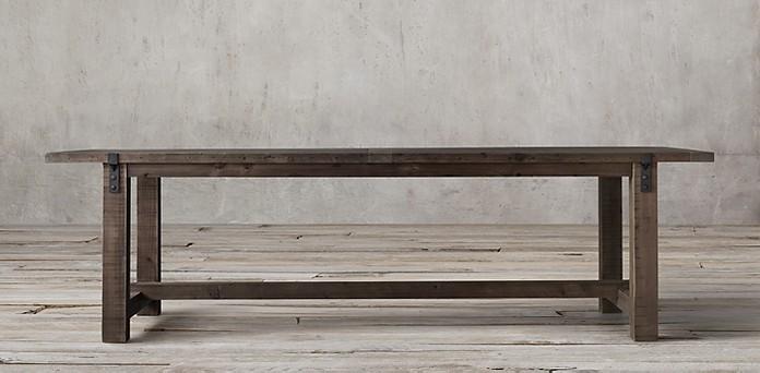 Reclaimed Wood Zinc Strap Collection Espresso Pine RH - Restoration hardware zinc table