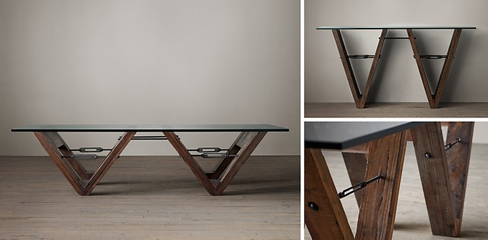 Reclaimed Wood Glass VForm Collection RH - Reclaimed wood and glass dining table