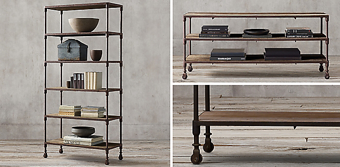 - Dutch Industrial Collection - Reclaimed Natural Elm& Rust Metal RH