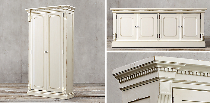 St. James Panel Collection - Antiqued White | RH
