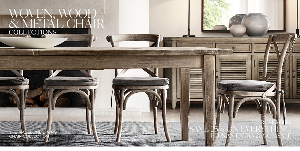 Relatively Wood, Metal & Woven Chair Collections | RH AA43