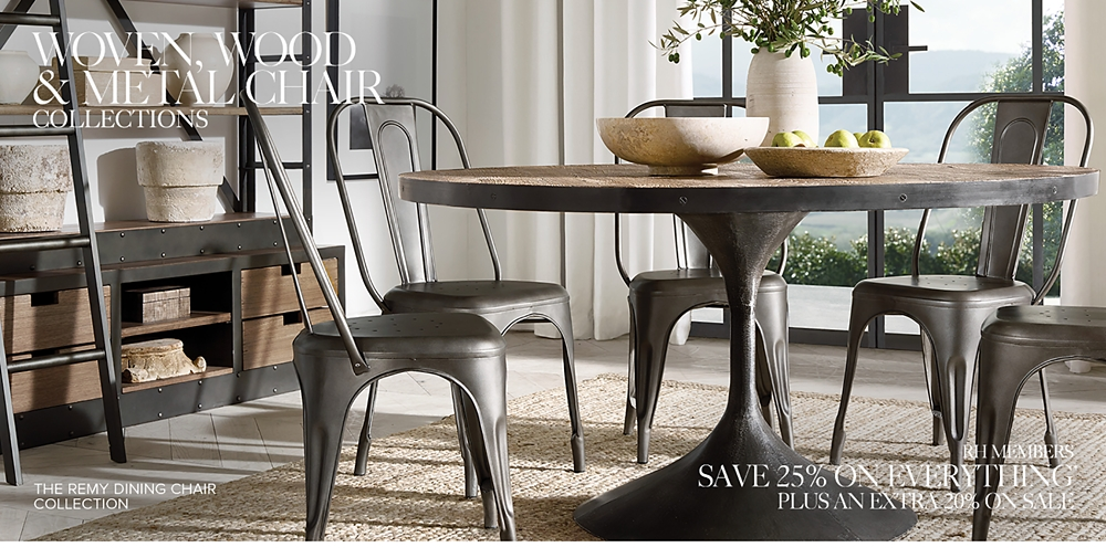 Wood Metal Woven Chair Collections Rh