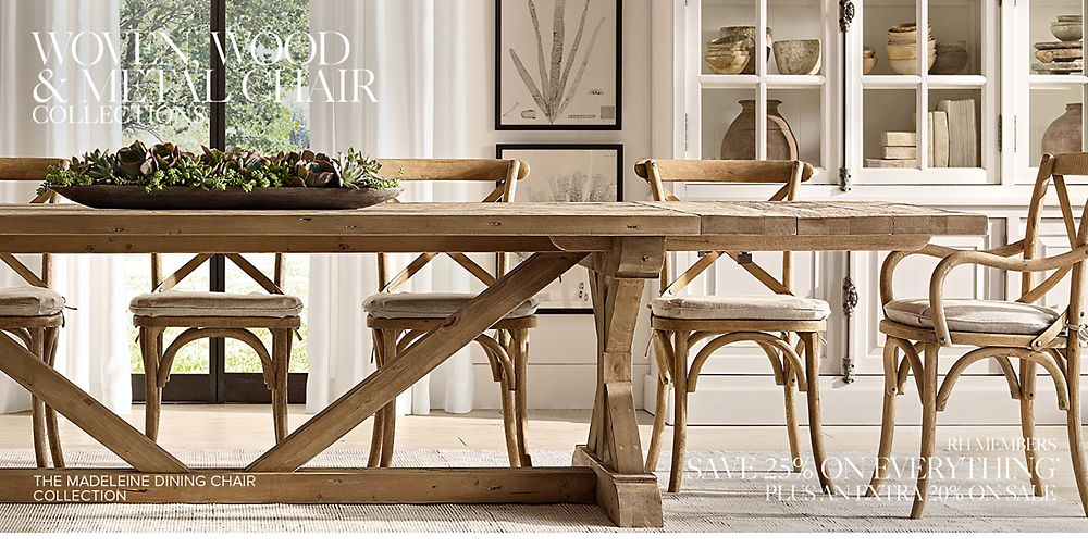 Wood, Metal & Woven Chair Collections   RH