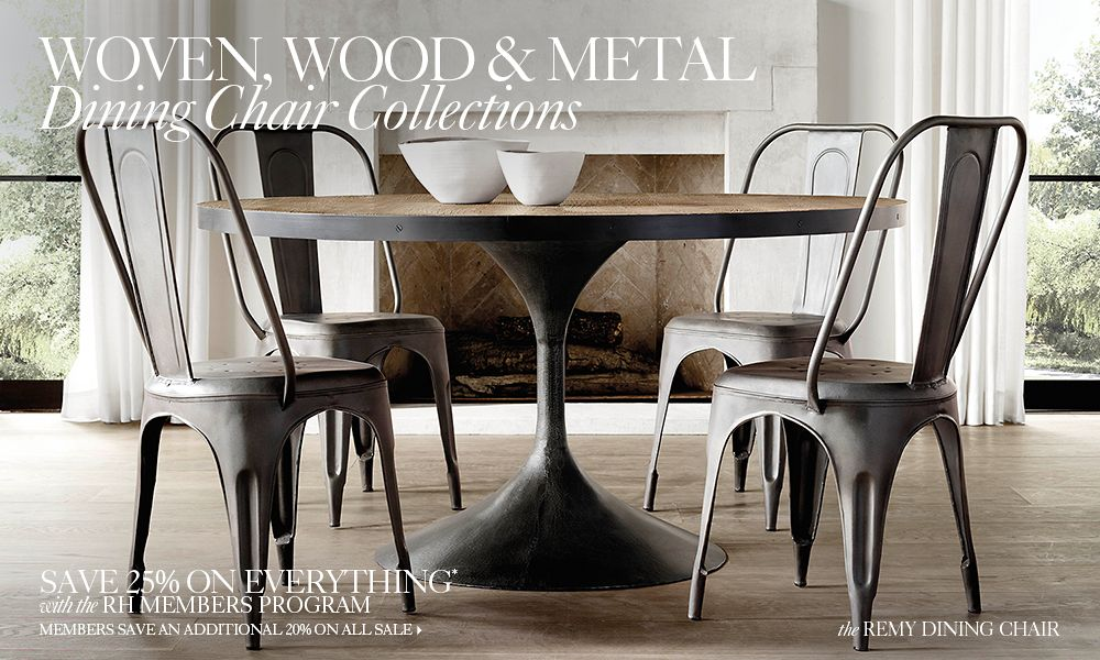 Woven Wood  Metal Chair Collections RH - Metal dining room chairs