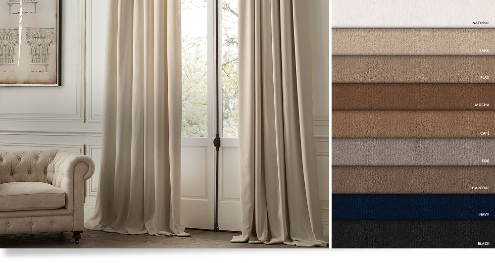 Drapery collections rh for Restoration hardware window shades