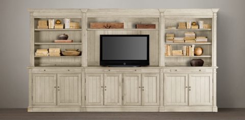 Library Wall System Collection Distressed White RH