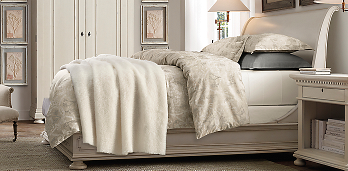 St  James Sleigh Bed  Shown in antiqued white. St  James Sleigh Bedroom Collection  Antiqued White   RH