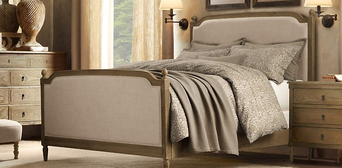 vienne upholstered bed collection weathered oak drifted rh