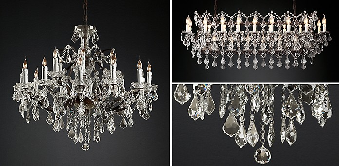 19th c rococo iron clear crystal collection