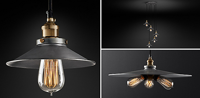 20th c factory filament metal shade collection