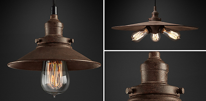 20th C. Factory Filament Metal Shade Collection - Kitchen & Utility Pendants RH