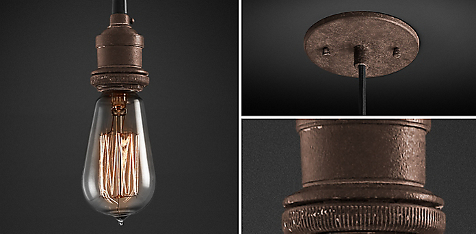 20th C. Factory Filament Bare Bulb Collection - Kitchen & Utility Pendants RH