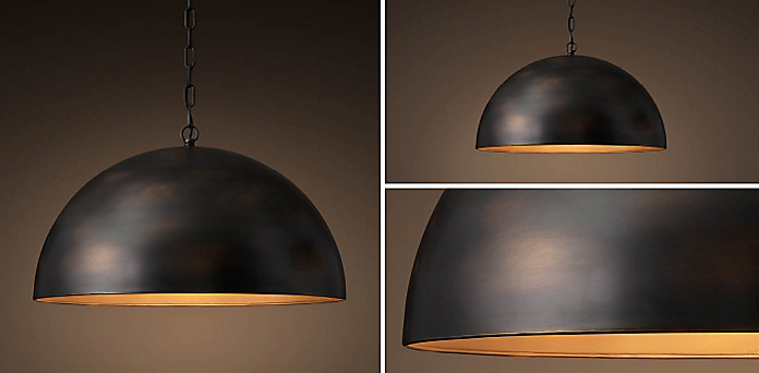Antiqued Metal Dome Collection - Kitchen & Utility Pendants RH