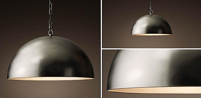 Antiqued Metal Dome Collection - Kitchen & Utility Pendants RH