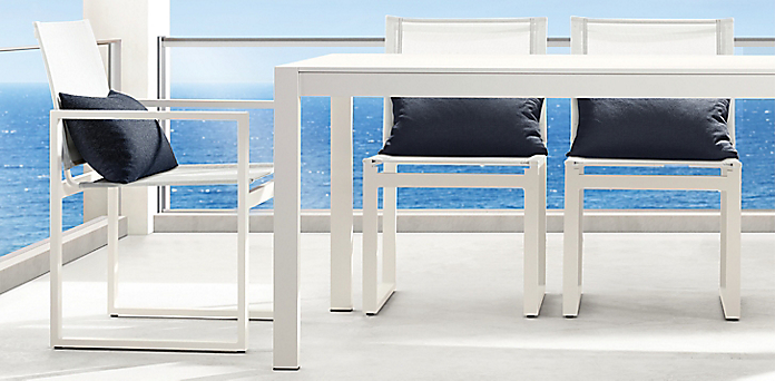 Dining Collections RH - White metal outdoor dining table