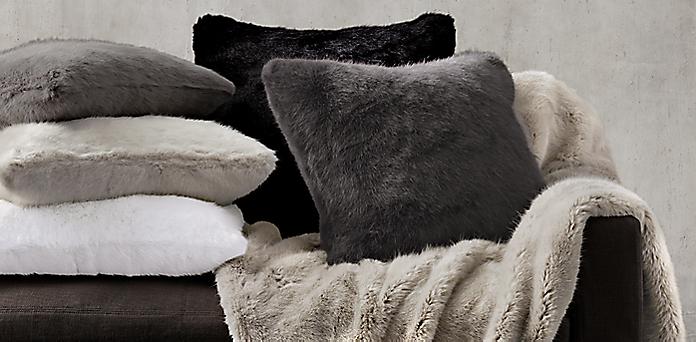 faux fur throw pillow Ultra Faux Fur Pillow Cover Collection   RH faux fur throw pillow