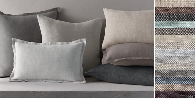 belgian linen cross weave pillow collection free shipping - Grey Throw Pillows