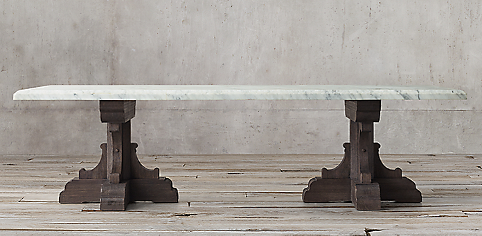 Th C French Bastide Oak Marble Collection Textured Brown Oak RH - Restoration hardware marble dining table