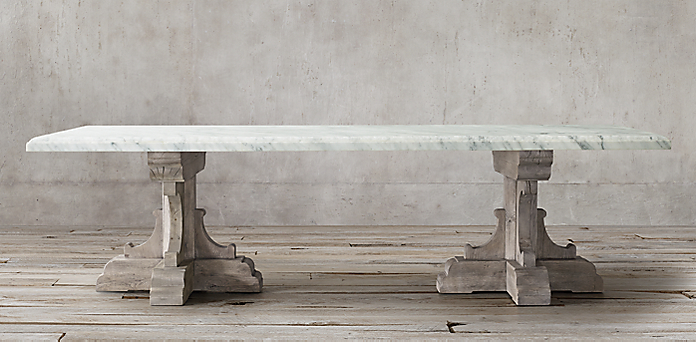 Th C French Bastide Oak Marble Collection Textured Grey Oak RH - Restoration hardware marble dining table