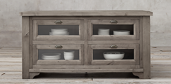 20th c salvaged wood kitchen console collection - Restoration Hardware Kitchen