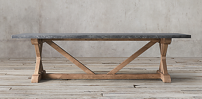 Salvaged Wood Marble XBase Collection Grey Marble RH - Restoration hardware marble dining table