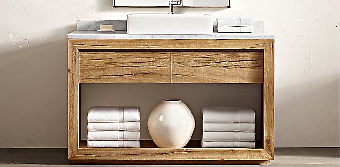 Bathroom Vanity Restoration Hardware reclaimed russian oak vessel washstand bath collection - reclaimed