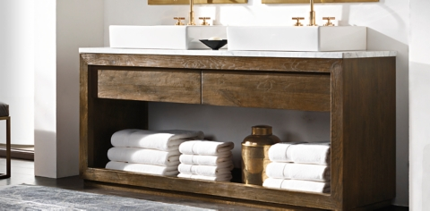Reclaimed Russian Oak Vessel Washstand Bath Collection   Reclaimed Brown Oak  | RH