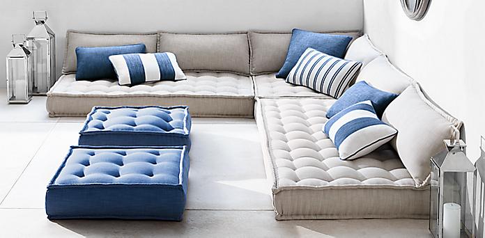 Tufted French Floor Cushions Rh