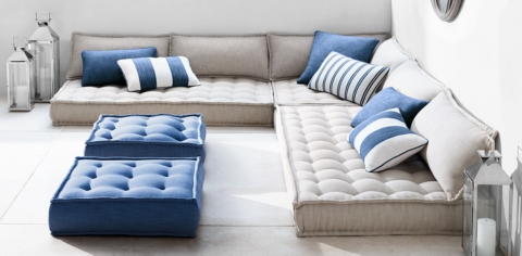 What To Stuff Floor Pillows With : Tufted French Floor Cushions RH