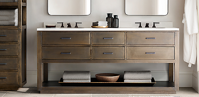 la salle metal-wrapped washstand bath collection | rh