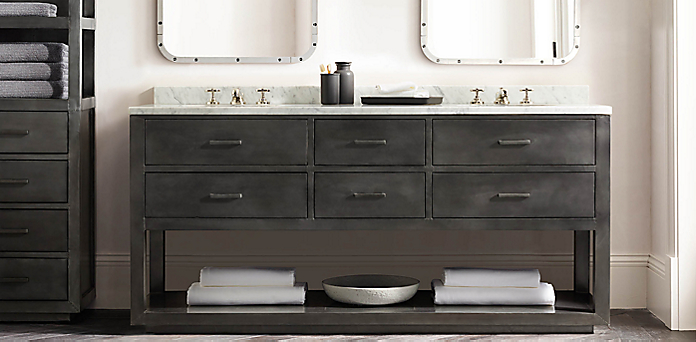 La Salle Metal Wrapped Washstand Collection. Bath Collections   RH