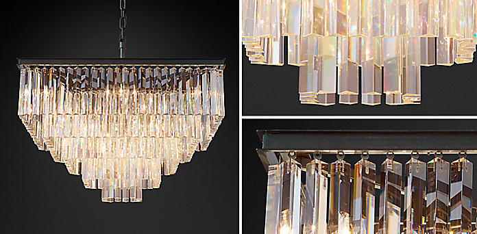 1920s Odeon Clear Glass Fringe Square Collection