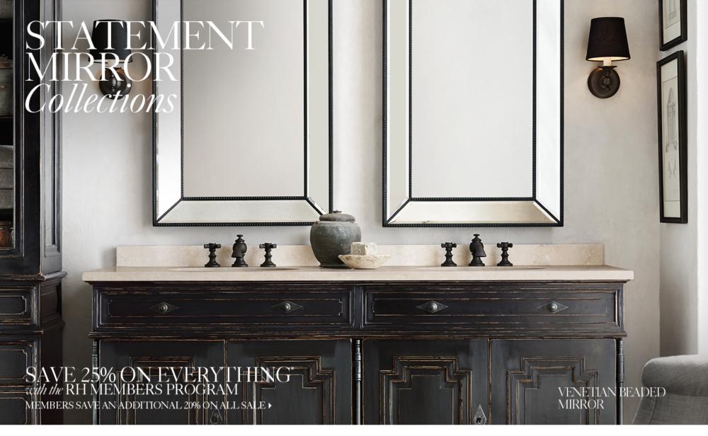 Bathroom Mirror Restoration Hardware statement mirrors   rh