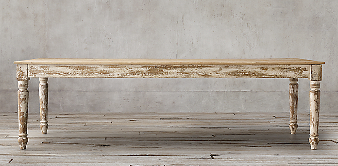 restoration hardware farmhouse table 20th C. English Farmhouse Collection   Distressed Salvaged White | RH restoration hardware farmhouse table