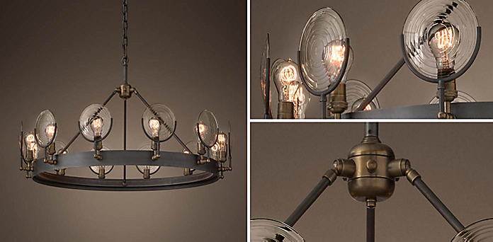 Gaslight Lens Chandelier Collection Rh