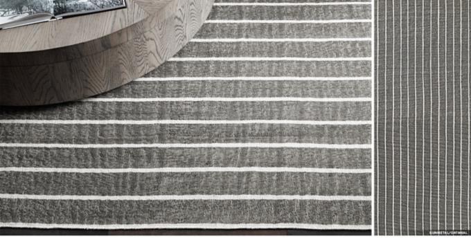 Distressed Pinstripe Flatweave Rug