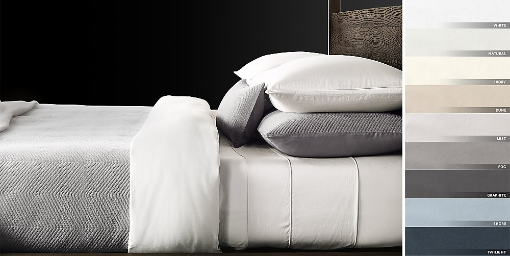 italian vintage washed 600 thread count sateen bedding collection free shipping - Restoration Hardware Bedding