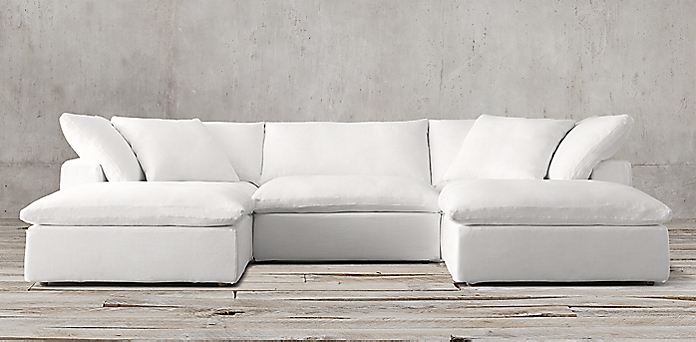 White Linen Sofa With Chaise Awesome Home