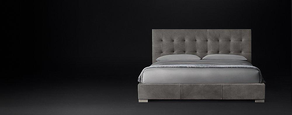 Modena Panel Box Tufted Leather Platform Bed