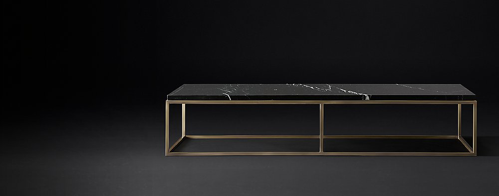 Nicholas Marble Rectangular Collection Black Marble Burnished - Rh modern coffee table