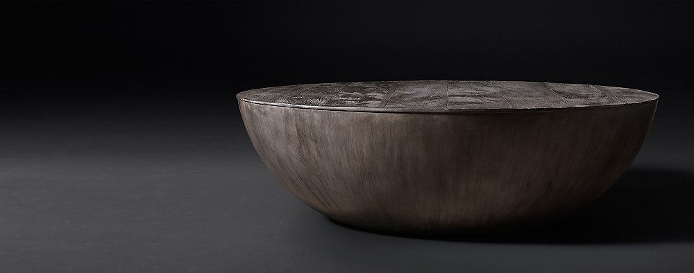 Sphere Collection Terra Reclaimed Peroba Rh Modern Solid Wood Half Coffee Table Housingworks