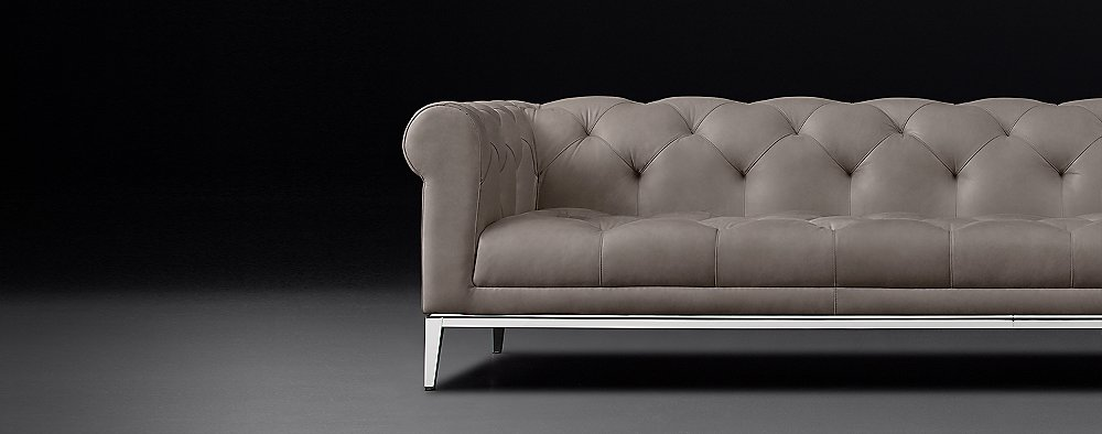 Italia Chesterfield Leather Sofa - Metal Base | RH Modern