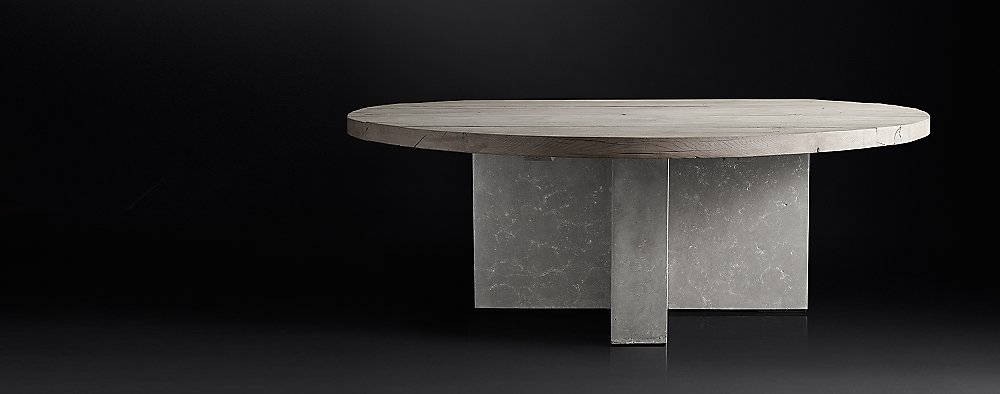 Concrete Pier Collection Grey Reclaimed French Oak RH Modern - Rh concrete table
