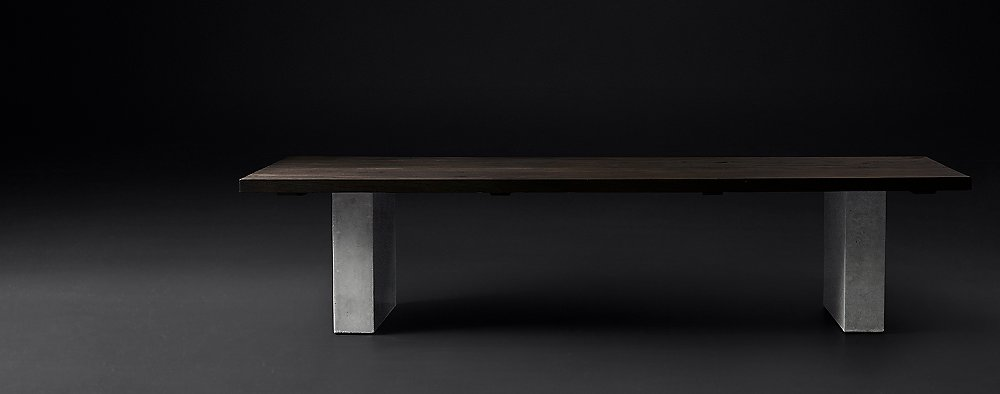 Concrete Pier Collection Brown Reclaimed French Oak RH Modern - Rh modern dining table
